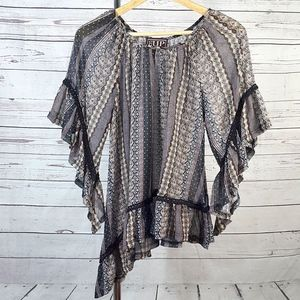 Cowgirl Up gray brown asymmetrical sheer pom top